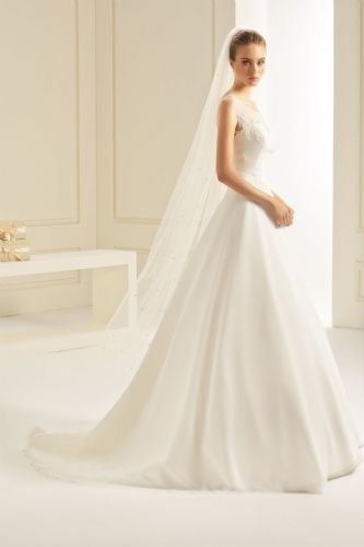 single layer cut edge floor length wedding veil with swarovski crystals